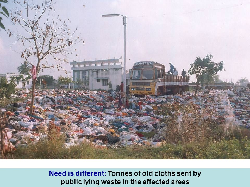 Need is different: Tonnes of old cloths sent by public lying waste in the affected areas
