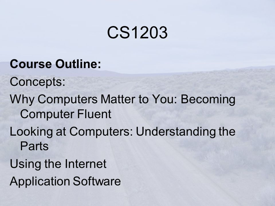 Course Outline: Concepts: Why Computers Matter to You: Becoming Computer Fluent Looking at Computers: Understanding the Parts Using the Internet Application Software CS1203