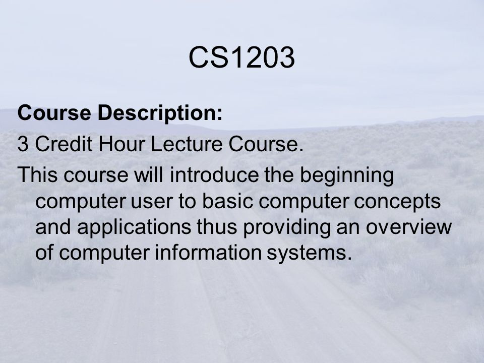 CS1203 Course Description: 3 Credit Hour Lecture Course.