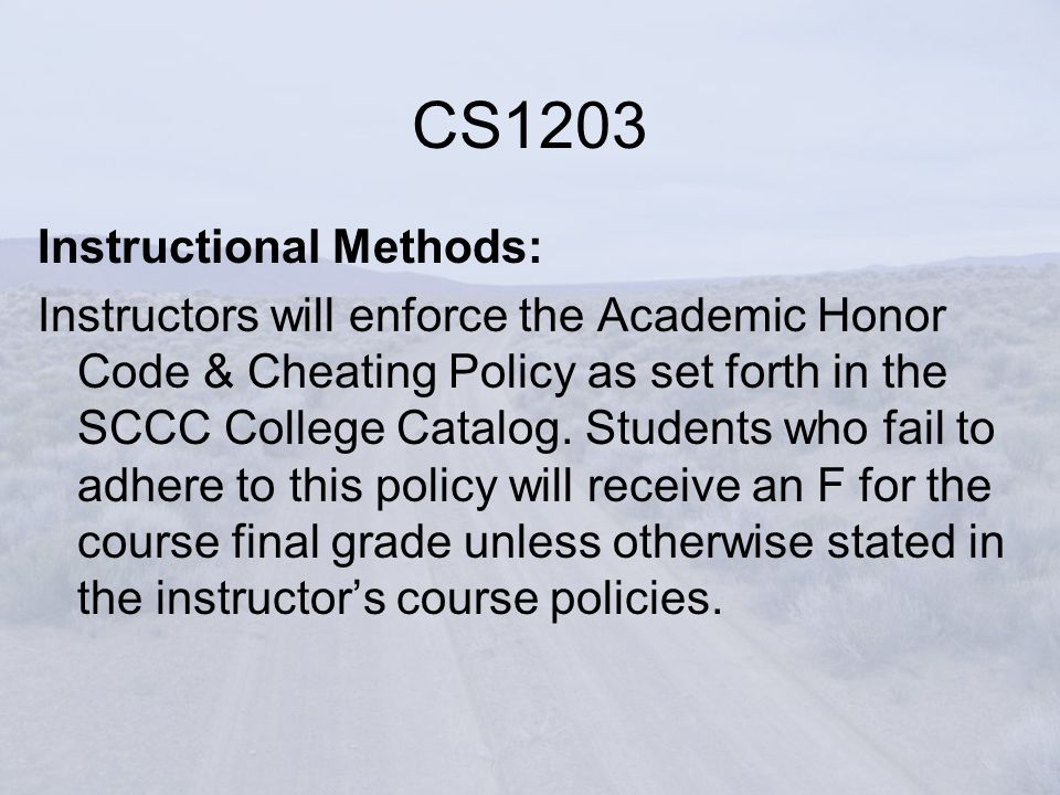 Instructional Methods: Instructors will enforce the Academic Honor Code & Cheating Policy as set forth in the SCCC College Catalog.