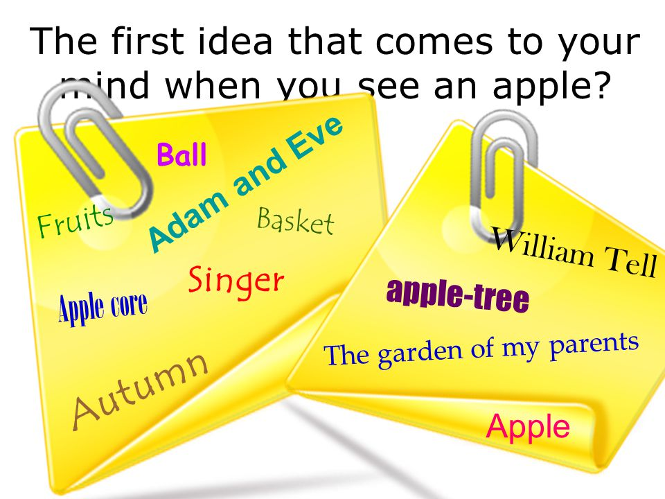The first idea that comes to your mind when you see an apple.