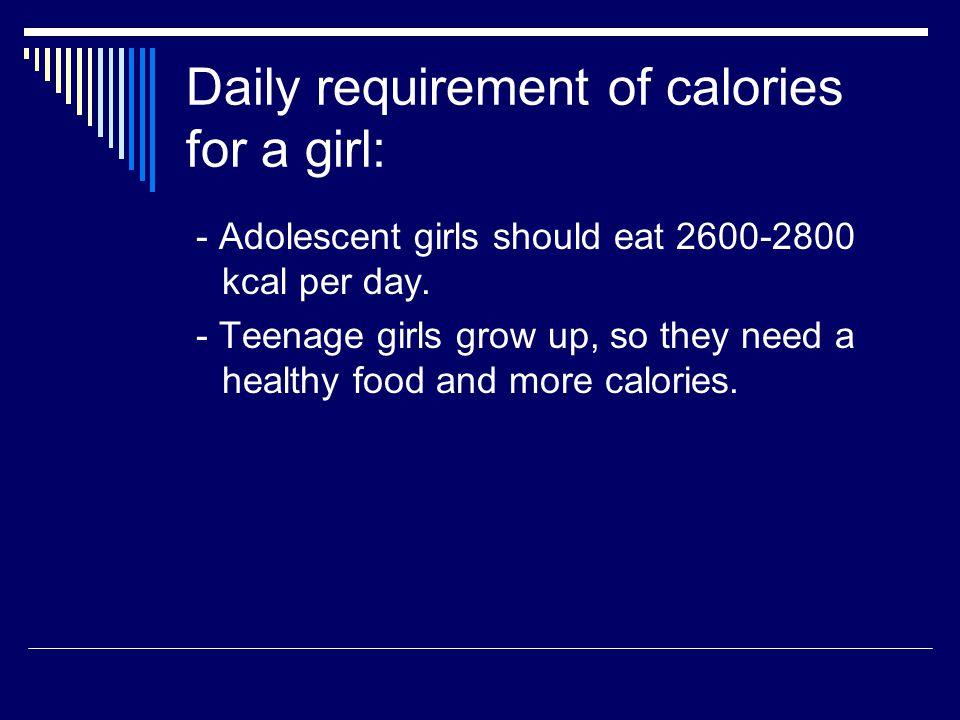 Summary: - Girls - 2601 kcal - Guys - 3486
