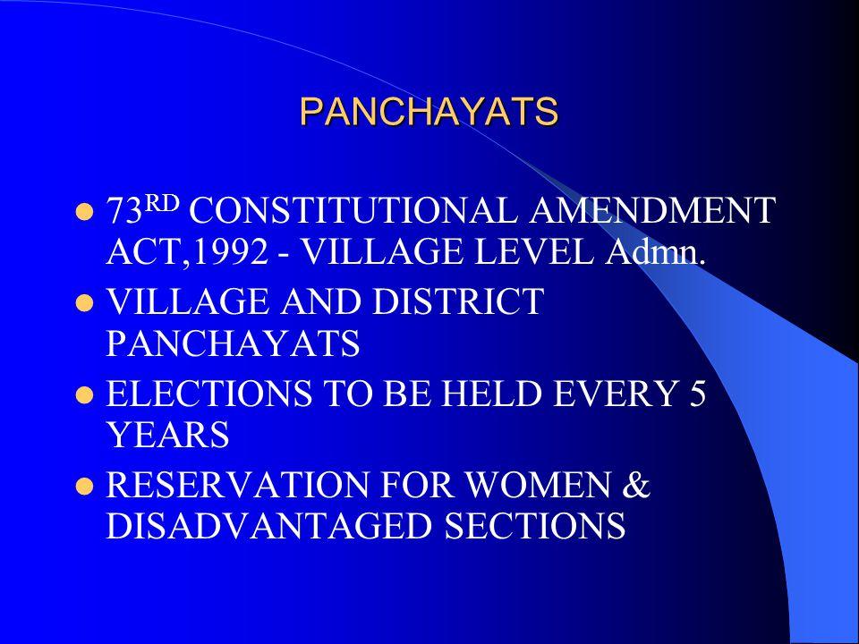 PANCHAYATS 73 RD CONSTITUTIONAL AMENDMENT ACT,1992 - VILLAGE LEVEL Admn.