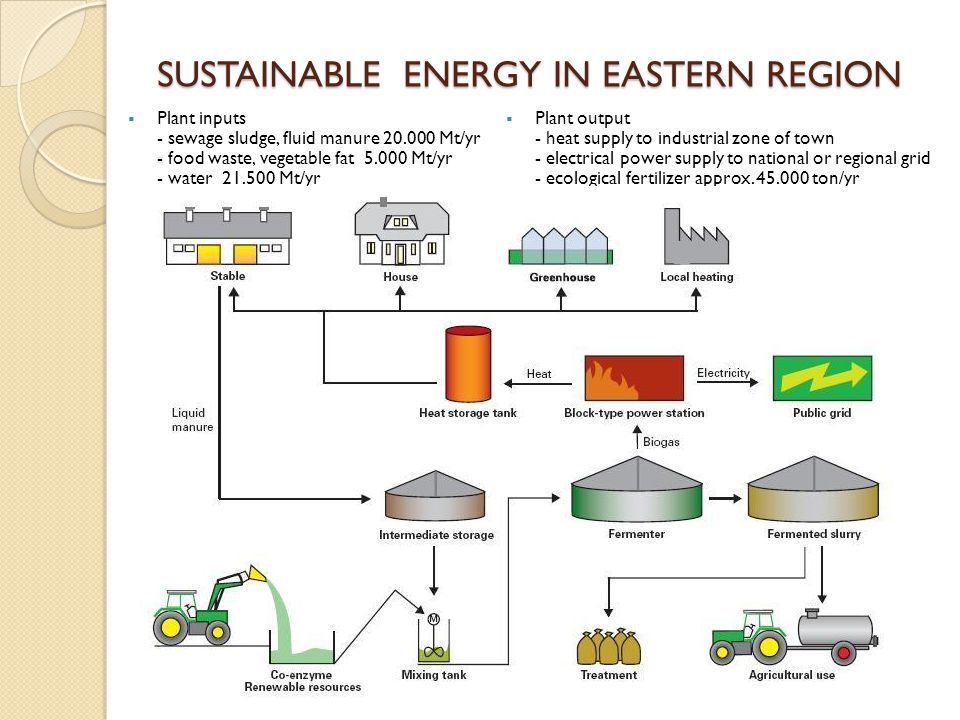 SUSTAINABLE ENERGY IN EASTERN REGION  Plant output - heat supply to industrial zone of town - electrical power supply to national or regional grid - ecological fertilizer approx.