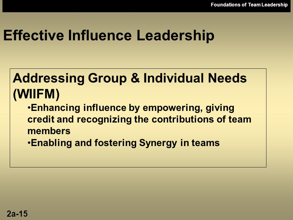 Foundations of Team Leadership Effective Influence Leadership Addressing Group & Individual Needs (WIIFM) Enhancing influence by empowering, giving cr