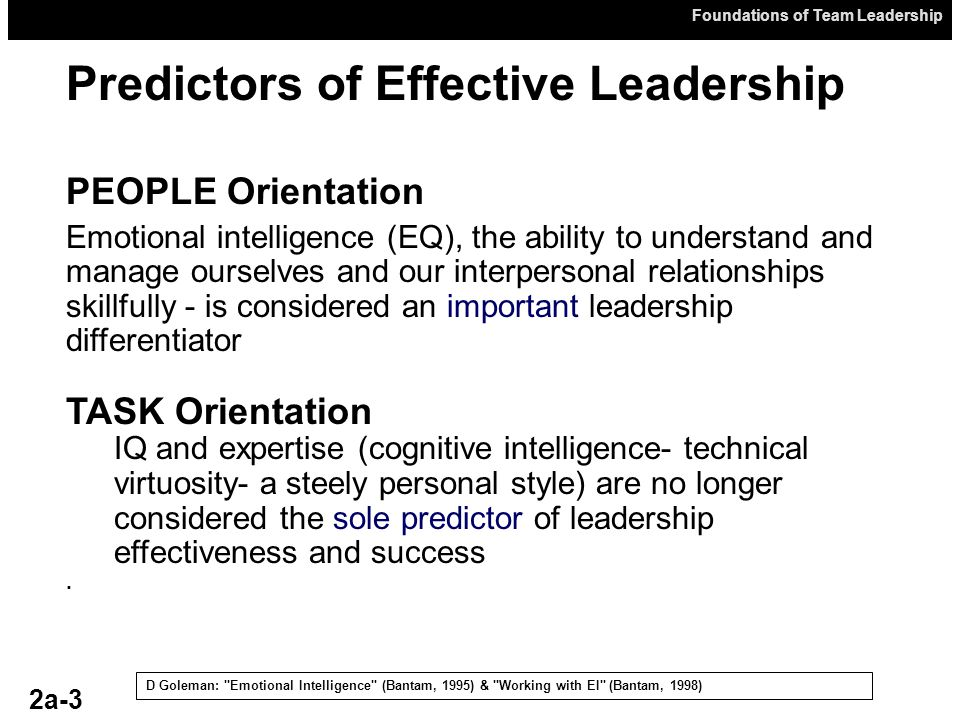 Foundations of Team Leadership Predictors of Effective Leadership D Goleman:
