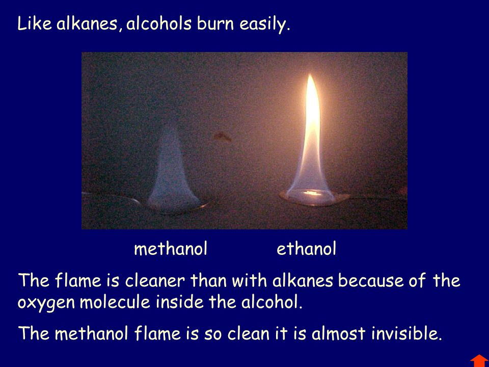 Like alkanes, alcohols burn easily.