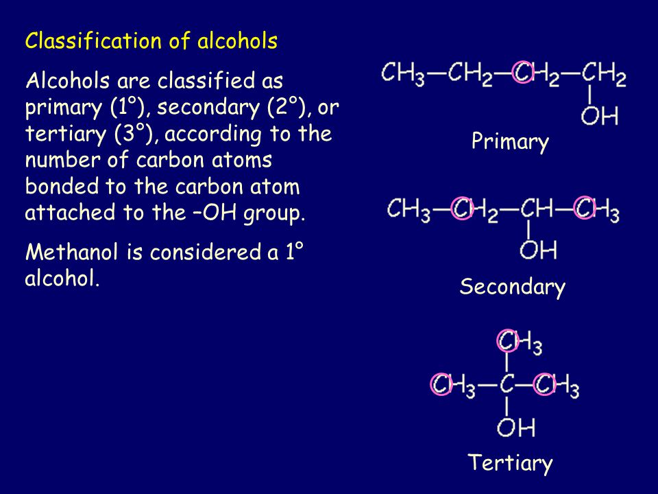 Classification of alcohols Alcohols are classified as primary (1°), secondary (2°), or tertiary (3°), according to the number of carbon atoms bonded to the carbon atom attached to the –OH group.
