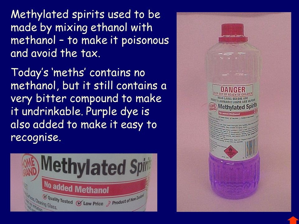 Methylated spirits used to be made by mixing ethanol with methanol – to make it poisonous and avoid the tax.