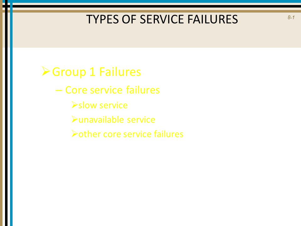 8-2 TYPES OF SERVICE FAILURES  Group 2 Failures – Responses to implicit/explicit requests  special needs  customer preferences  customer error  disruptive others