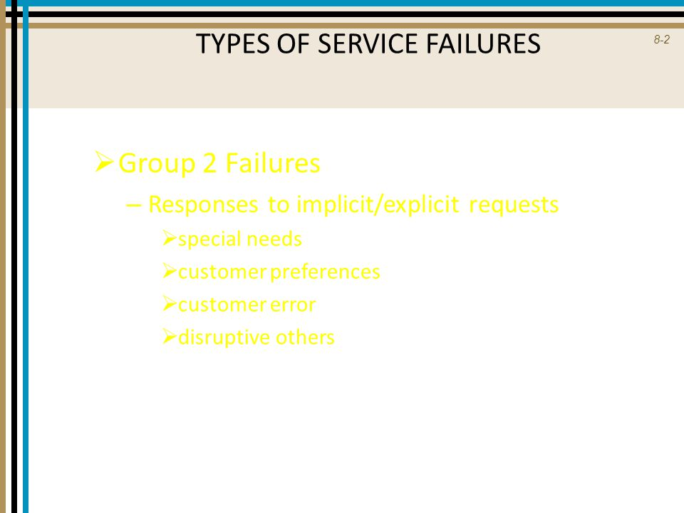 8-3 TYPES OF SERVICE FAILURES  Group 3 Failures – Unprompted/Unsolicited employee actions  level of attention  unusual action  cultural norms  gestalt  adverse conditions