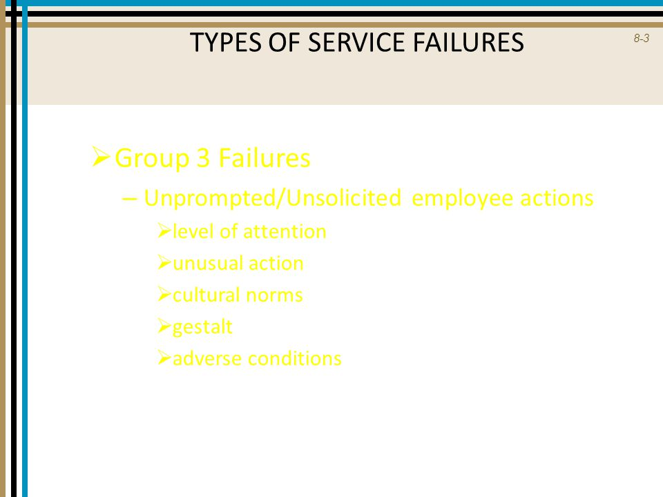8-4 TYPES OF SERVICE FAILURES (new category)  Group 4 Failures (Employee-reported incidents) – Problematic customer behavior  drunkenness  verbal and physical abuse  breaking company policies or laws  uncooperative customers