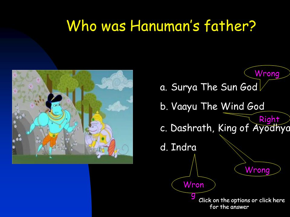 Who was Hanuman's father? Click on the options or click here for the answer a.Surya The Sun God b. Vaayu The Wind God c. Dashrath, King of Ayodhya d.