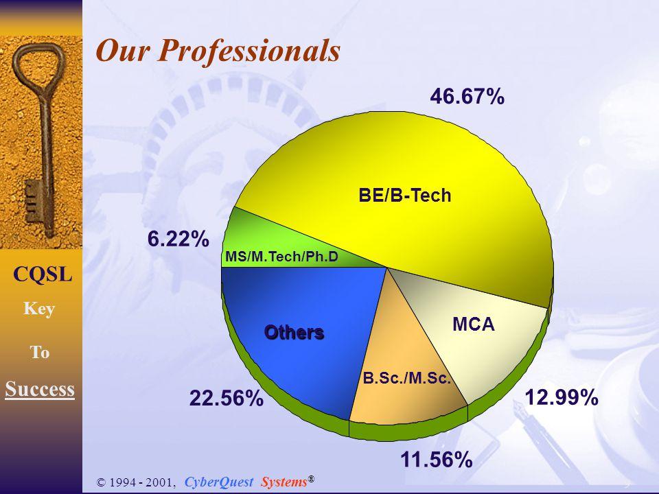 9 CQSL Key To Success © 1994 - 2001, CyberQuest Systems ® Our Professionals 6.22% 46.67% 12.99% 11.56% 22.56% MCA B.Sc./M.Sc.