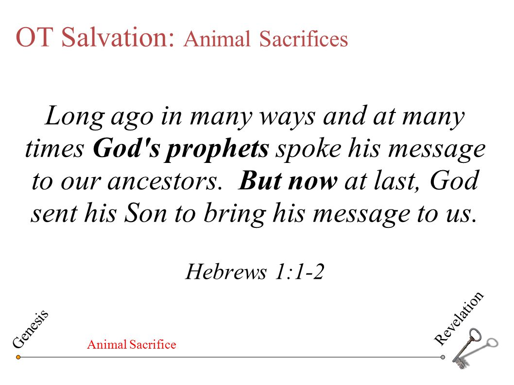 OT Salvation: Animal Sacrifices Long ago in many ways and at many times God's prophets spoke his message to our ancestors. But now at last, God sent h