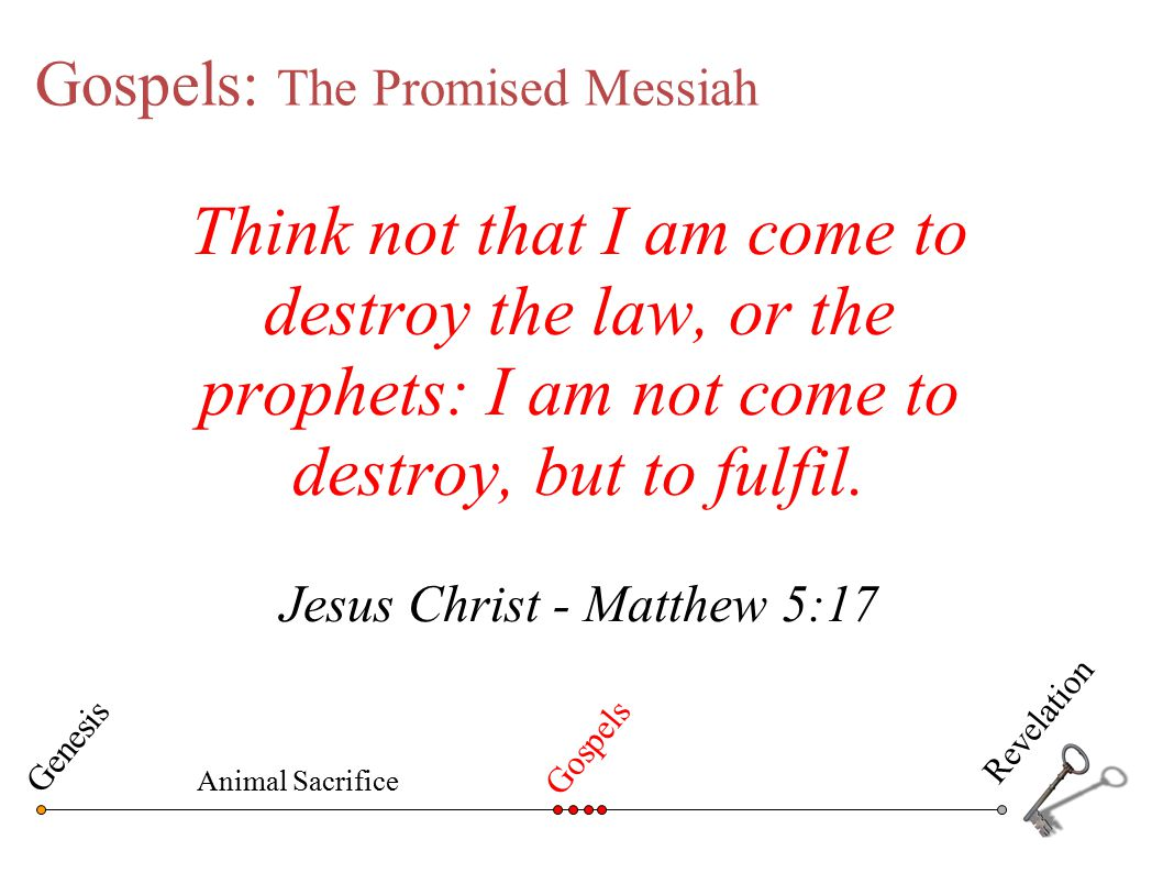 Gospels: The Promised Messiah Think not that I am come to destroy the law, or the prophets: I am not come to destroy, but to fulfil. Jesus Christ - Ma
