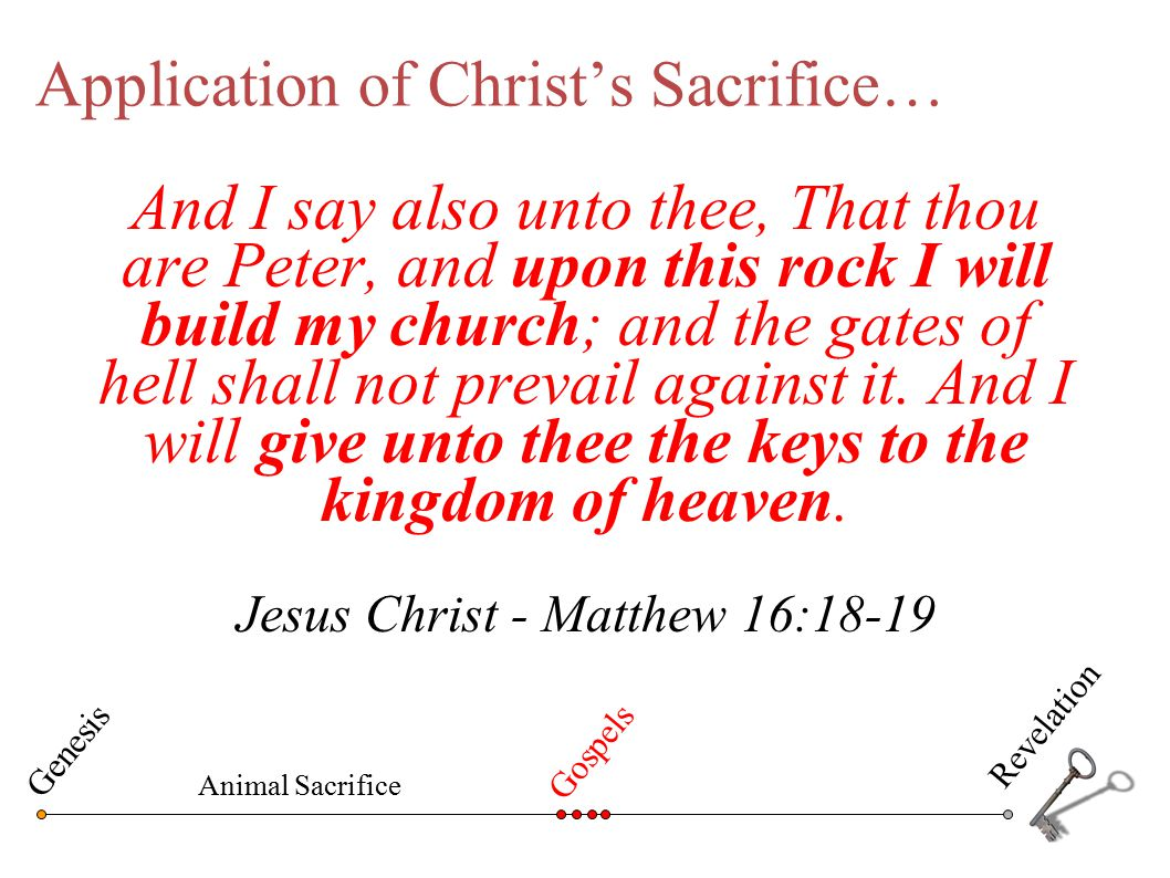 Application of Christ's Sacrifice… And I say also unto thee, That thou are Peter, and upon this rock I will build my church; and the gates of hell sha
