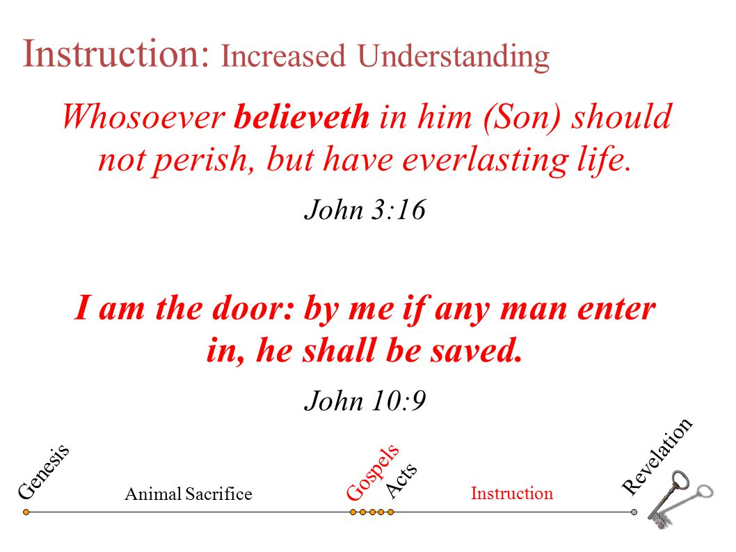 Instruction: Increased Understanding Whosoever believeth in him (Son) should not perish, but have everlasting life. John 3:16 I am the door: by me if