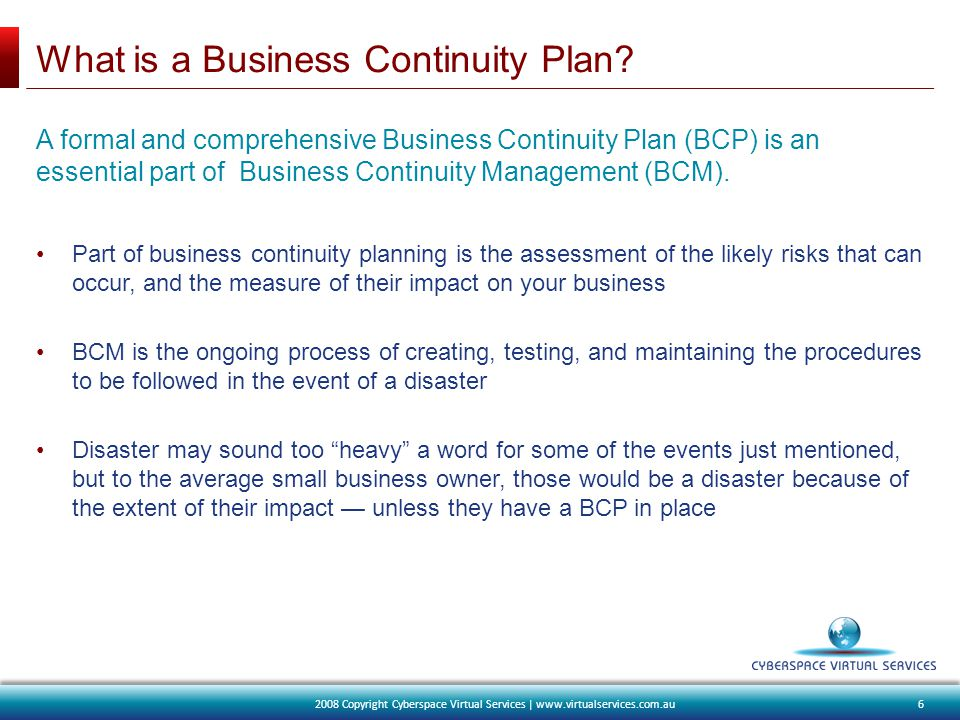 What is a Business Continuity Plan.