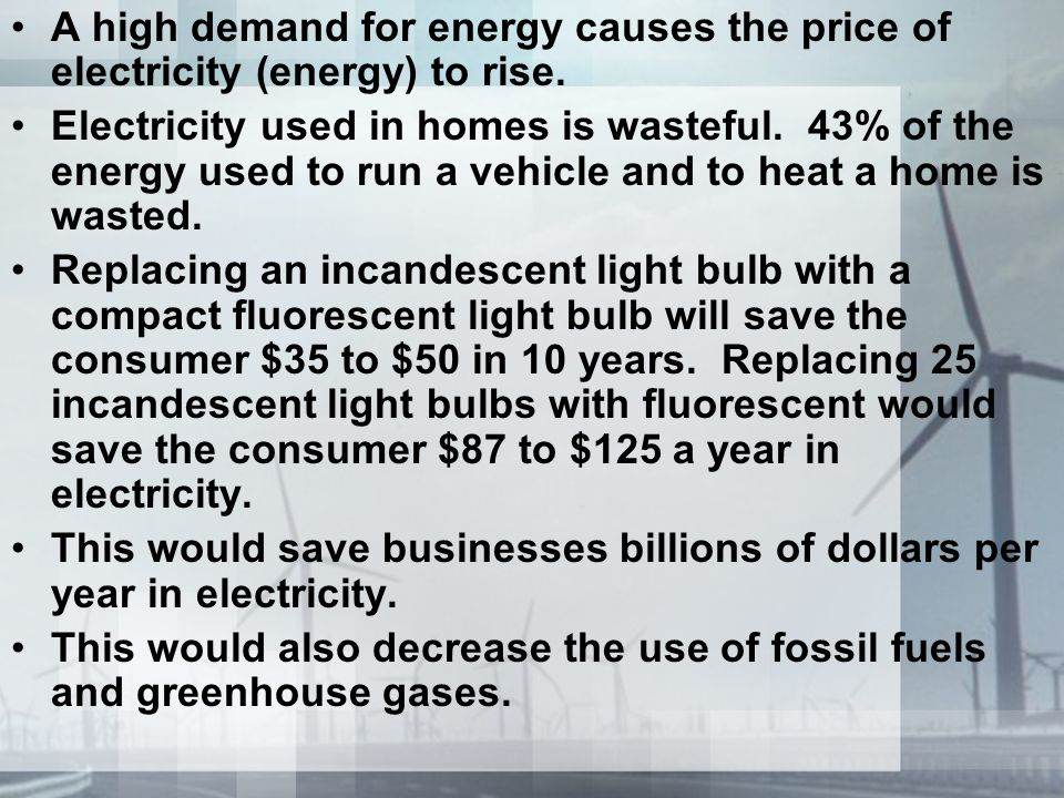 A high demand for energy causes the price of electricity (energy) to rise. Electricity used in homes is wasteful. 43% of the energy used to run a vehi