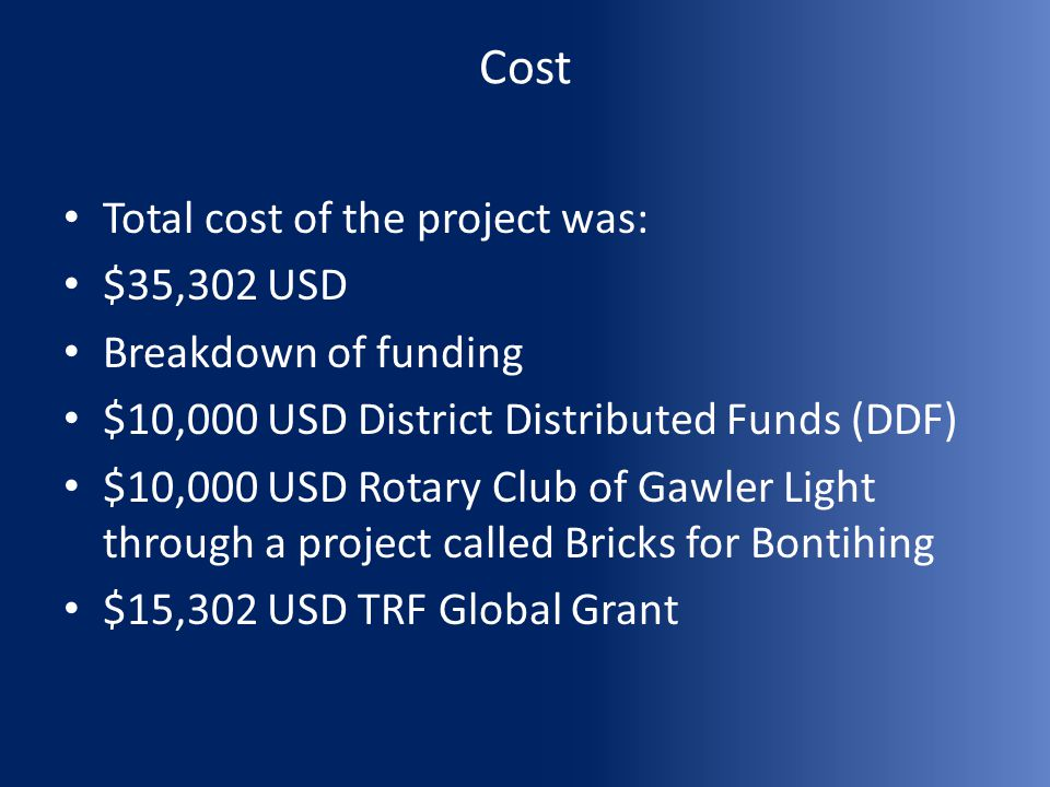 Cost Total cost of the project was: $35,302 USD Breakdown of funding $10,000 USD District Distributed Funds (DDF) $10,000 USD Rotary Club of Gawler Li