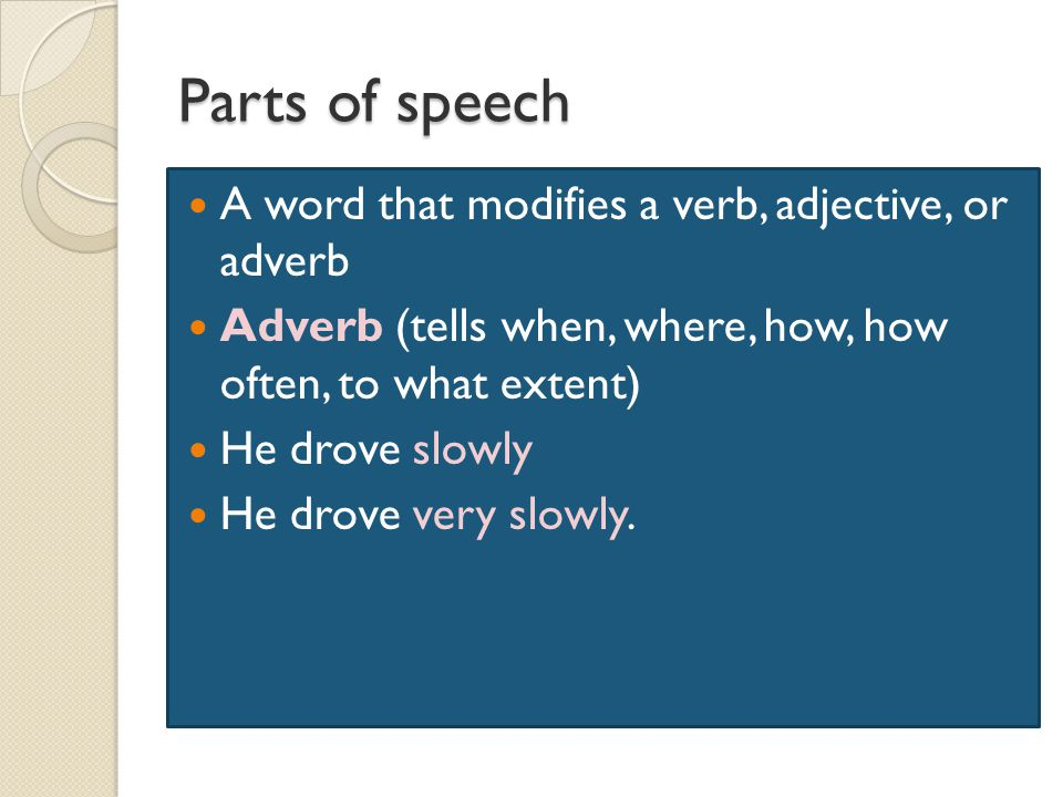 Parts of speech A word that modifies a verb, adjective, or adverb Adverb (tells when, where, how, how often, to what extent) He drove slowly He drove very slowly.