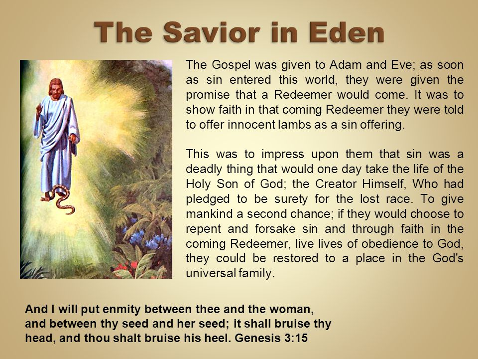 The Gospel was given to Adam and Eve; as soon as sin entered this world, they were given the promise that a Redeemer would come. It was to show faith