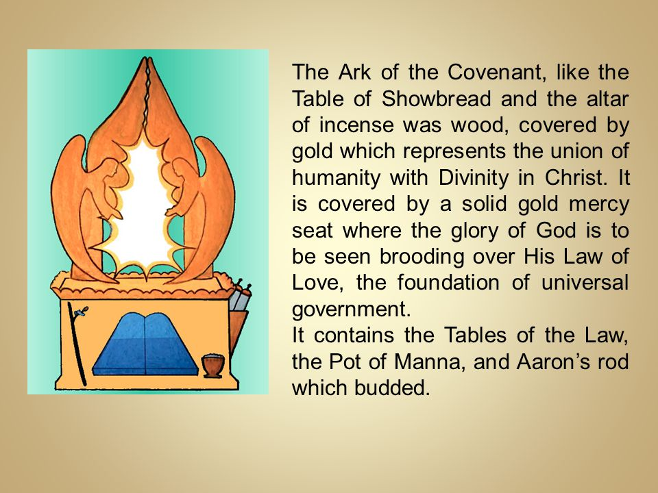The Ark of the Covenant, like the Table of Showbread and the altar of incense was wood, covered by gold which represents the union of humanity with Di