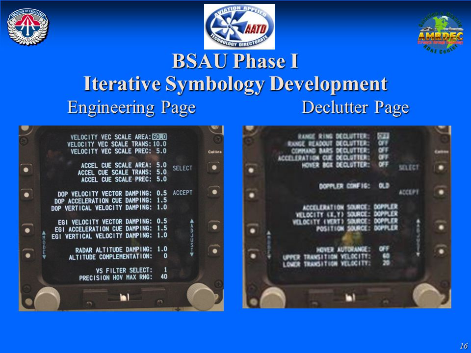 16 BSAU Phase I Iterative Symbology Development Engineering Page Declutter Page