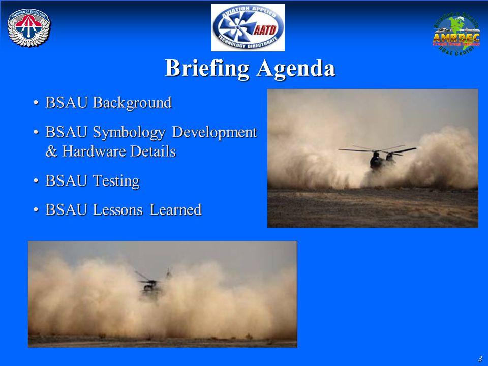 3 Briefing Agenda BSAU BackgroundBSAU Background BSAU Symbology Development & Hardware DetailsBSAU Symbology Development & Hardware Details BSAU Testi