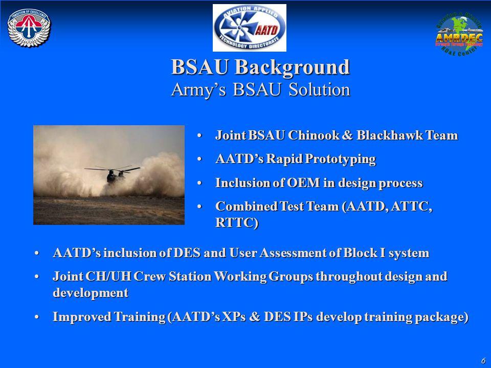 6 BSAU Background Army's BSAU Solution Joint BSAU Chinook & Blackhawk TeamJoint BSAU Chinook & Blackhawk Team AATD's Rapid PrototypingAATD's Rapid Pro
