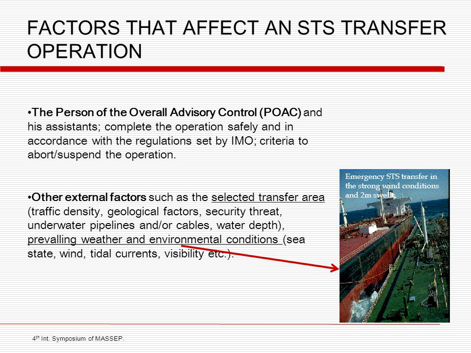 FACTORS THAT AFFECT AN STS TRANSFER OPERATION The Person of the Overall Advisory Control (POAC) and his assistants; complete the operation safely and in accordance with the regulations set by IMO; criteria to abort/suspend the operation.
