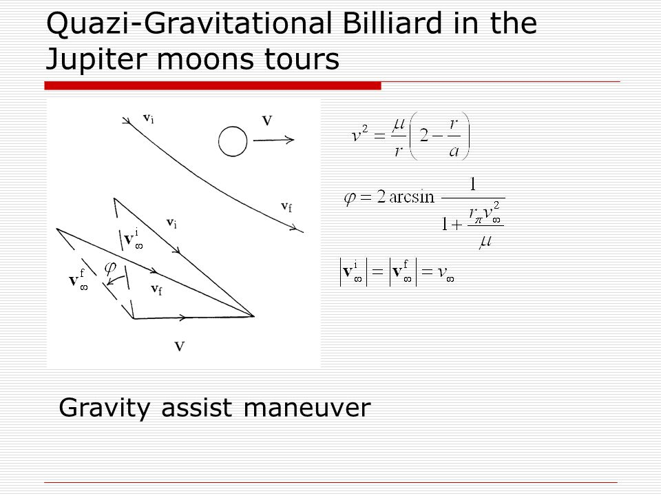 6-th maneuver Time of minimal distance reaching2022/09/06 04:29:38.081 Minimal distance6.051283 1000 km Height of pericenter of flyby hyperbola3.417283 1000 km Asymptotic velocity6.727114 Change of velocity relatively to Jupiter-0.095345 Period after flyby of GANYMEDE14.305032 days Distance in pericenter rated to Jupiter's radius9.273662 Eccentricity after flyby0.610227 Velocity in pericenter after flyby17.552545 Velocity in apocenter after flyby4.248788 Vx=-0.006027, Vy=0.003142, Vz=-0.000433, |V|=0.006811 Indicatrix method (IM) allows to significantly optimize the scheme of gravity assists construction
