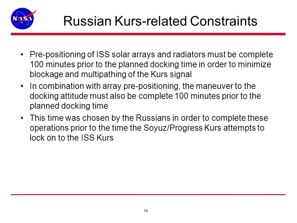 14 Russian Kurs-related Constraints Pre-positioning of ISS solar arrays and radiators must be complete 100 minutes prior to the planned docking time in order to minimize blockage and multipathing of the Kurs signal In combination with array pre-positioning, the maneuver to the docking attitude must also be complete 100 minutes prior to the planned docking time This time was chosen by the Russians in order to complete these operations prior to the time the Soyuz/Progress Kurs attempts to lock on to the ISS Kurs