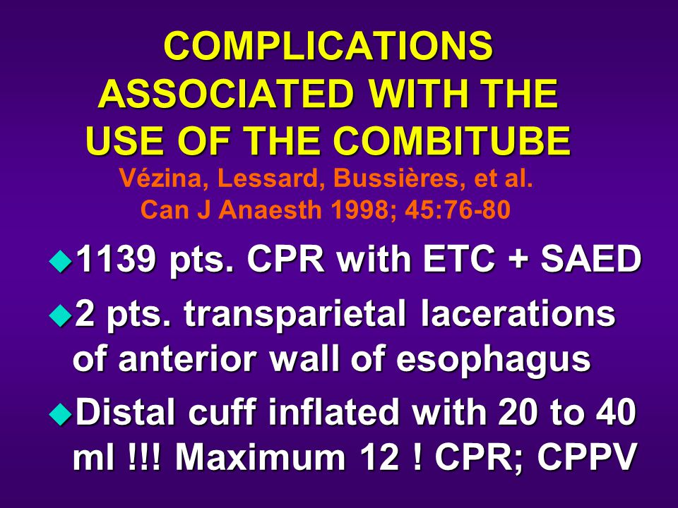 COMPLICATIONS ASSOCIATED WITH THE USE OF THE COMBITUBE u 1139 pts.