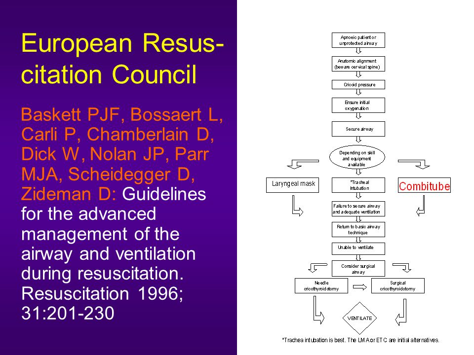 European Resus- citation Council Baskett PJF, Bossaert L, Carli P, Chamberlain D, Dick W, Nolan JP, Parr MJA, Scheidegger D, Zideman D: Guidelines for the advanced management of the airway and ventilation during resuscitation.