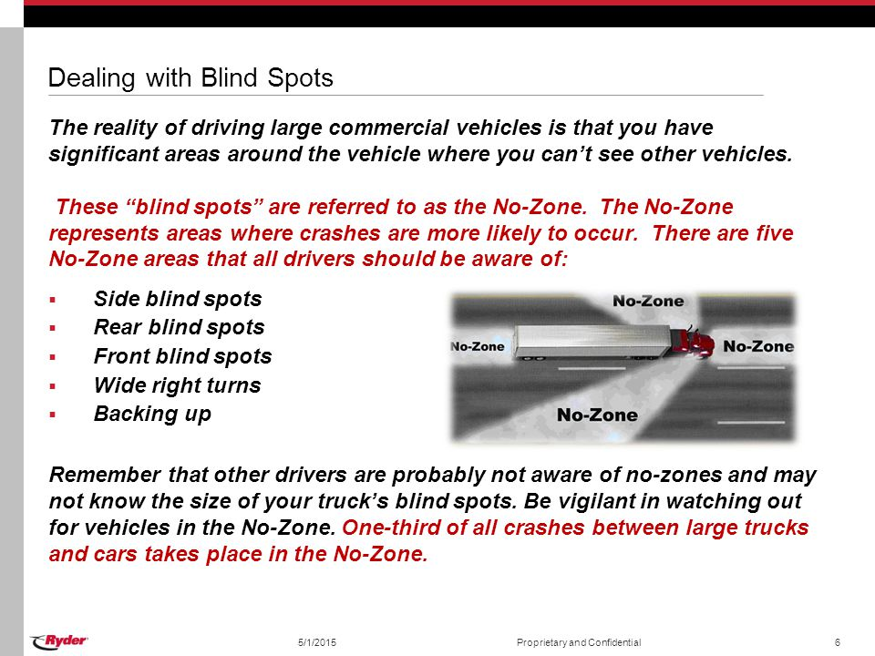 Dealing with Blind Spots The reality of driving large commercial vehicles is that you have significant areas around the vehicle where you can't see ot