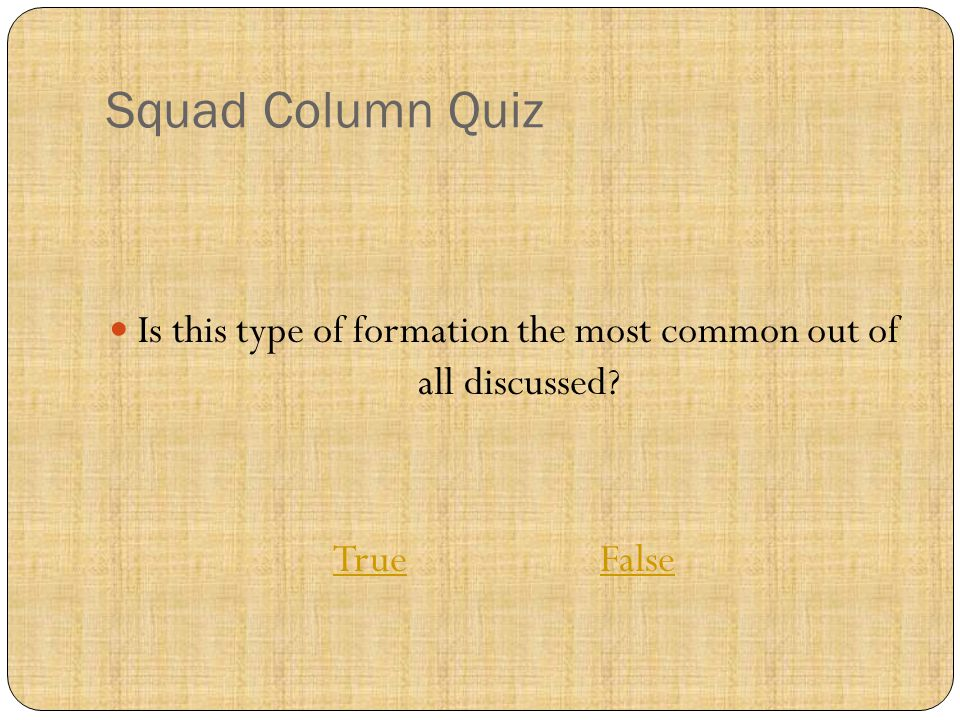 Squad Column Quiz Is this type of formation the most common out of all discussed.