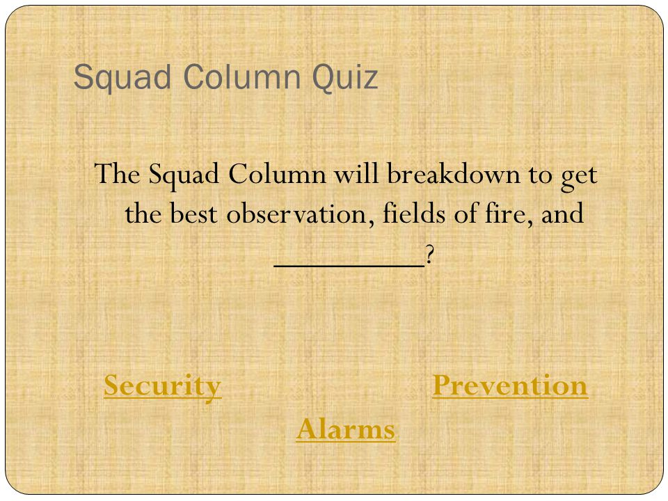 The Squad Column will breakdown to get the best observation, fields of fire, and _________? SecuritySecurity PreventionPrevention Alarms Squad Column