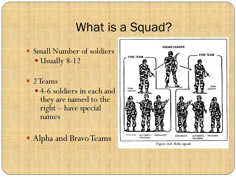 What is a Squad? Small Number of soldiers Usually 8-12 2 Teams 4-6 soldiers in each and they are named to the right – have special names Alpha and Bra