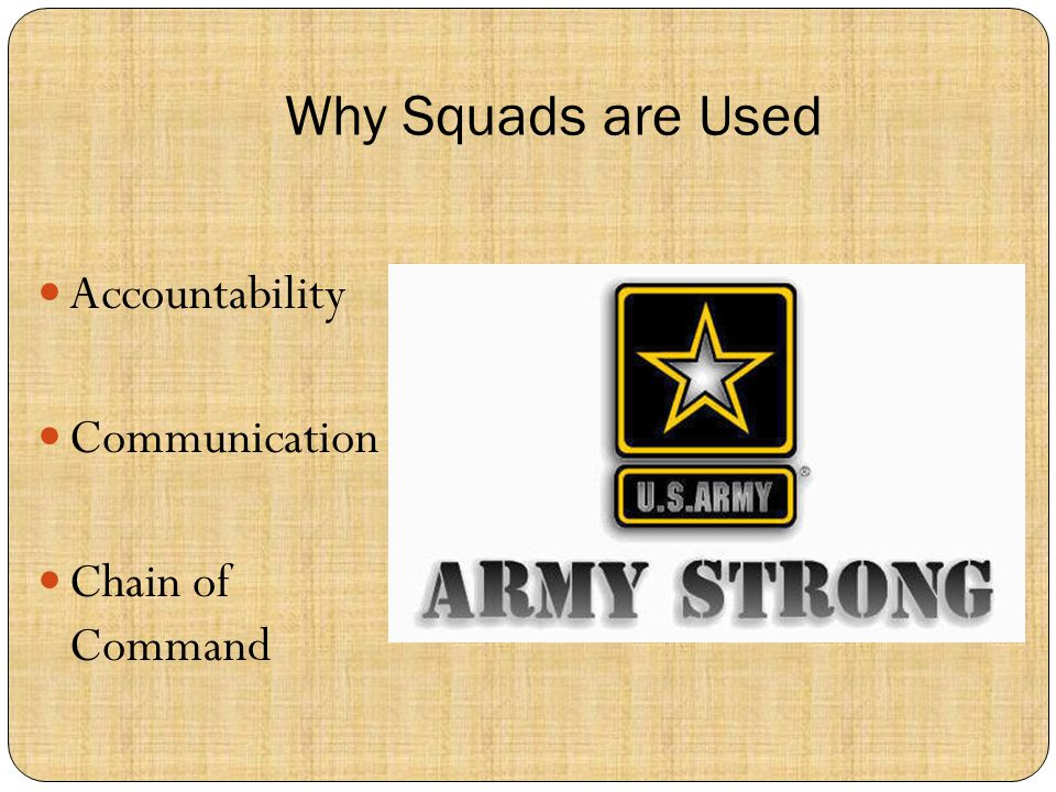 Why Squads are Used Accountability Communication Chain of Command