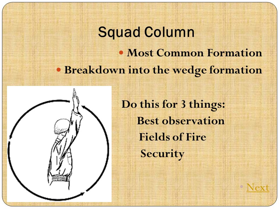 Squad Column Most Common Formation Breakdown into the wedge formation Do this for 3 things: Best observation Fields of Fire Security Next