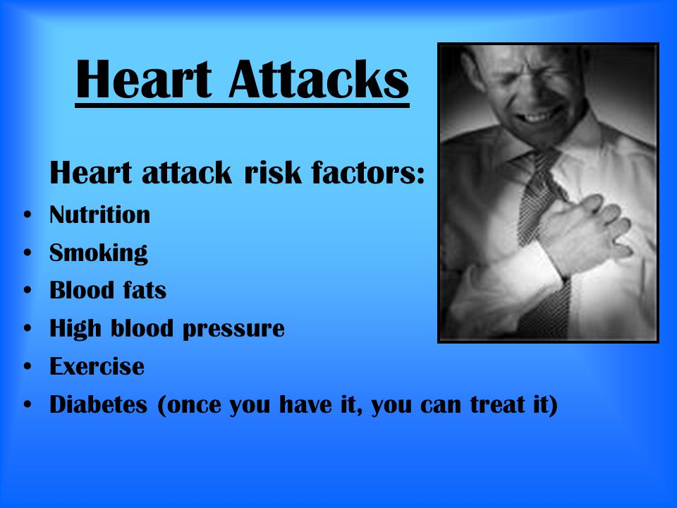 Heart Attacks Heart attack risk factors: Nutrition Smoking Blood fats High blood pressure Exercise Diabetes (once you have it, you can treat it)