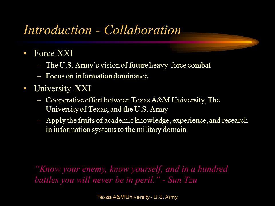 Texas A&M University - U.S. Army Introduction - Collaboration Force XXI –The U.S.