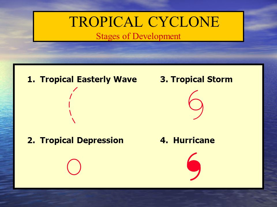 TROPICAL CYCLONE Stages of Development 1. Tropical Easterly Wave 3. Tropical Storm 2. Tropical Depression 4. Hurricane