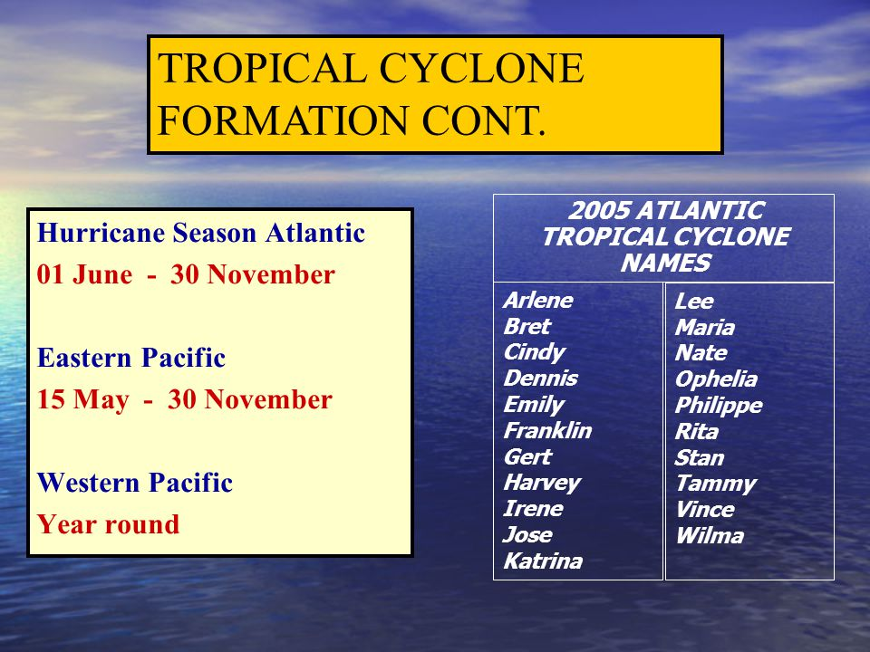 Hurricane Season Atlantic 01 June - 30 November Eastern Pacific 15 May - 30 November Western Pacific Year round TROPICAL CYCLONE FORMATION CONT. 2005