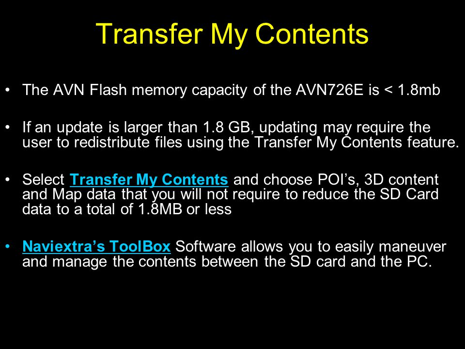 Transferring Contents Remove the SD Card and return it to the PC Open ToolBox Software and select Transfer my contents