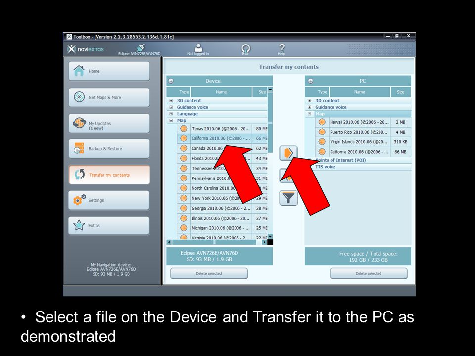 Select a file on the Device and Transfer it to the PC as demonstrated