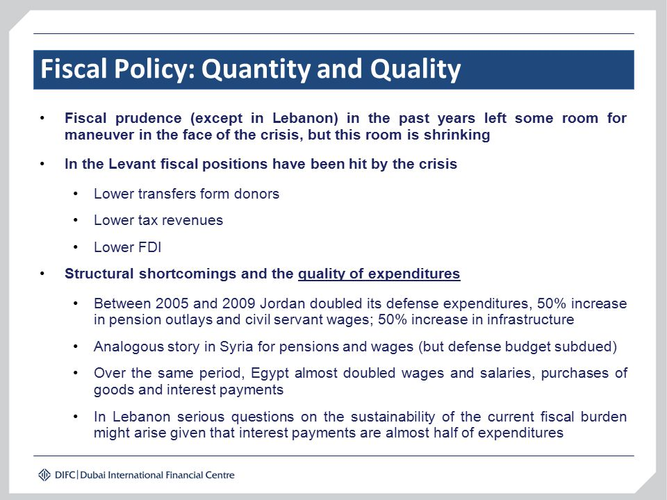Fiscal Policy: Quantity and Quality Fiscal prudence (except in Lebanon) in the past years left some room for maneuver in the face of the crisis, but t
