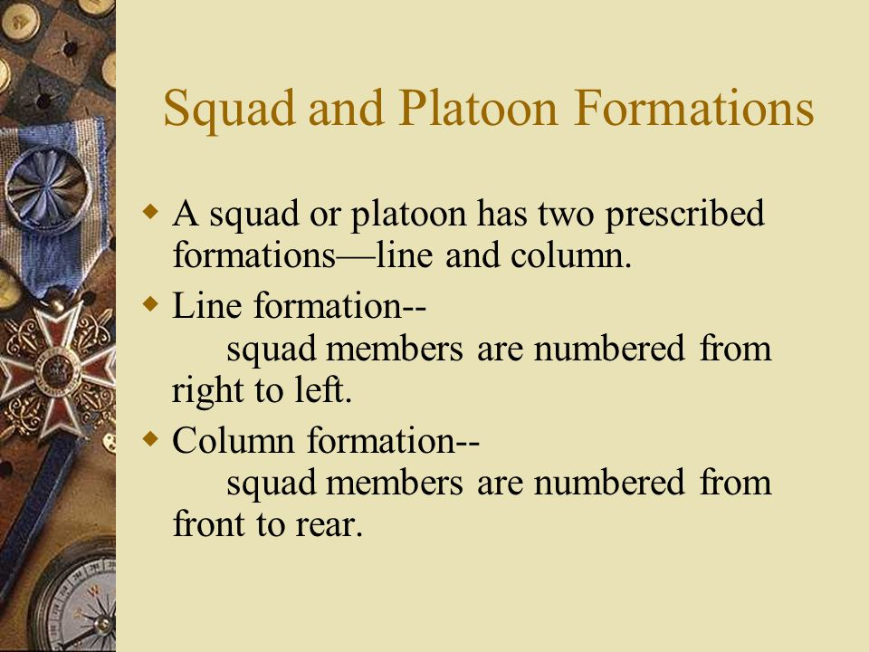 Squad and Platoon Formations  A squad or platoon has two prescribed formations—line and column.  Line formation-- squad members are numbered from ri